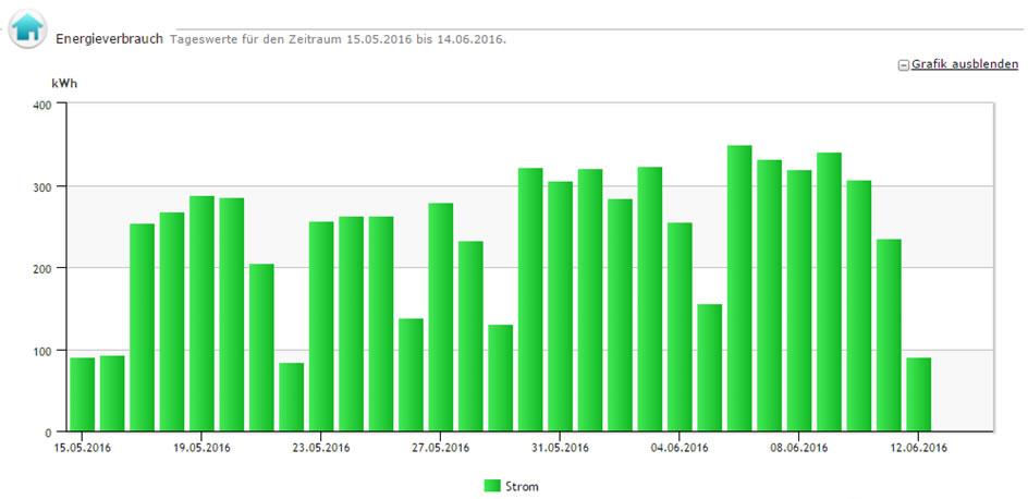 Abbildung 2: Monatsansicht, Auflösung täglich Energiecontrolling-System der Stadtwerke Rüsselsheim GmbH