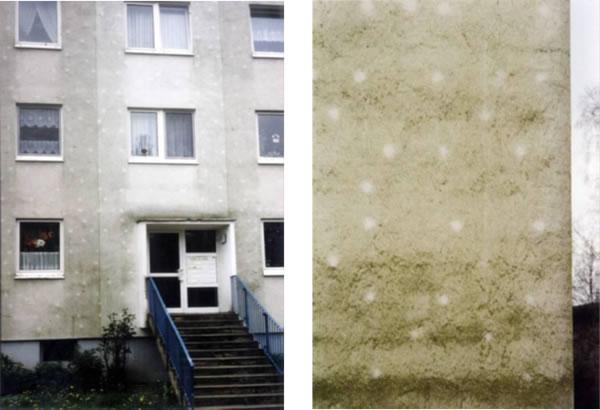 Die hellen Punkte auf den beiden Fotos stammen von Metalldübeln, die wärmer sind als die Dämmung