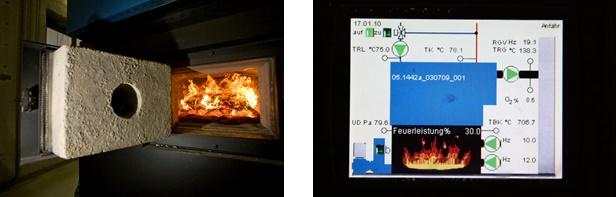 Holzkessel Feuerungsraum, Bild: SWR | Holzkessel Regelung, Bild: SWR