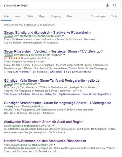 """Die Werbe-Anzeigen in den Such-Ergebnissen von Google erkennt man am grün umrandeten """"Anzeige"""" in der zweiten Zeile"""