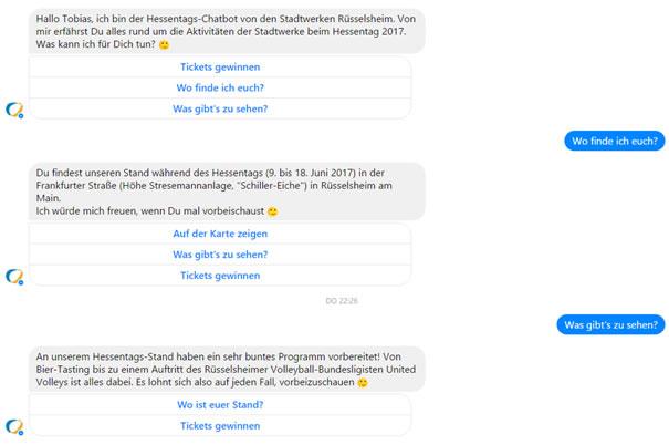 Der Chat-Bot bietet dem Nutzer jeweils bis zu 3 Antwort-Möglichkeiten. Hier können Sie selbst mit dem Bot chatten, wenn Sie bei Facebook eingeloggt sind.
